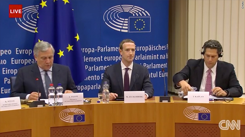 Facebook CEO Mark Zuckerberg meets with European Parliament in Brussels