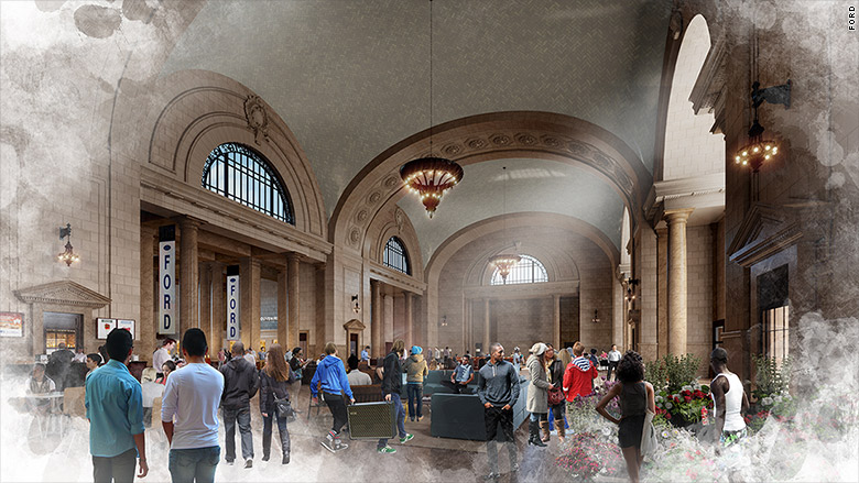 michigan central station main hall ford rendering