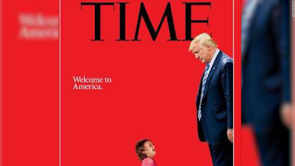 Time cover shows Trump towering over toddler