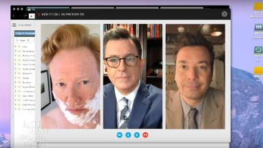 Colbert, Fallon and Conan team up to tease Trump
