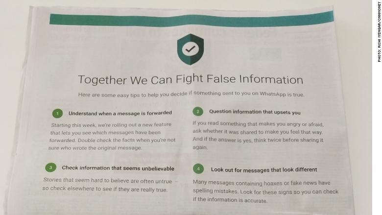 whatsapp misinformation tips