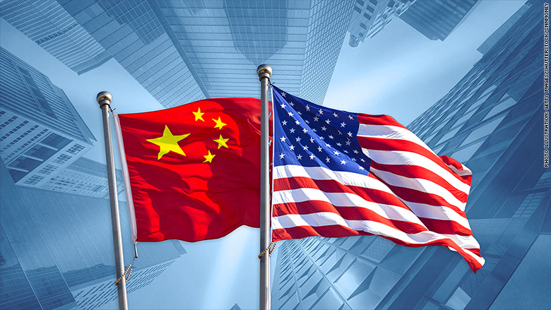 GFX trade war china usa flags business