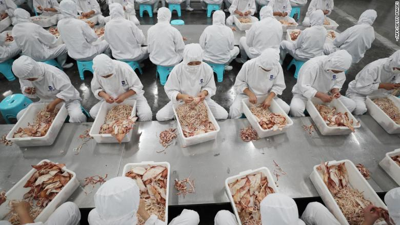 Workers sort dried seafood for export at a factory in Lianyungang in China's eastern Jiangsu province on July 5