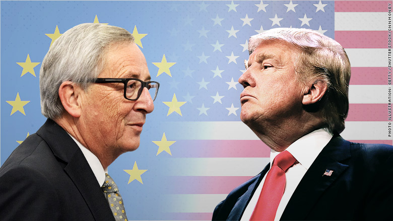 Trump says European Union  officials want to negotiate trade deal in Washington visit