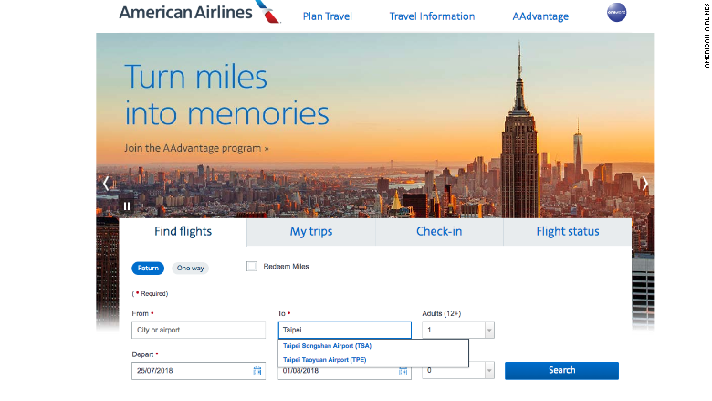american airlines website july 25