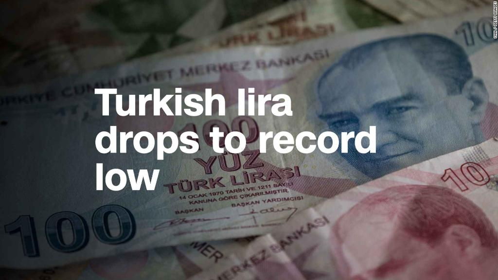 Turkish lira plummets again, hits record low