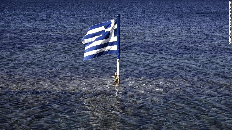 greek flag floating sea