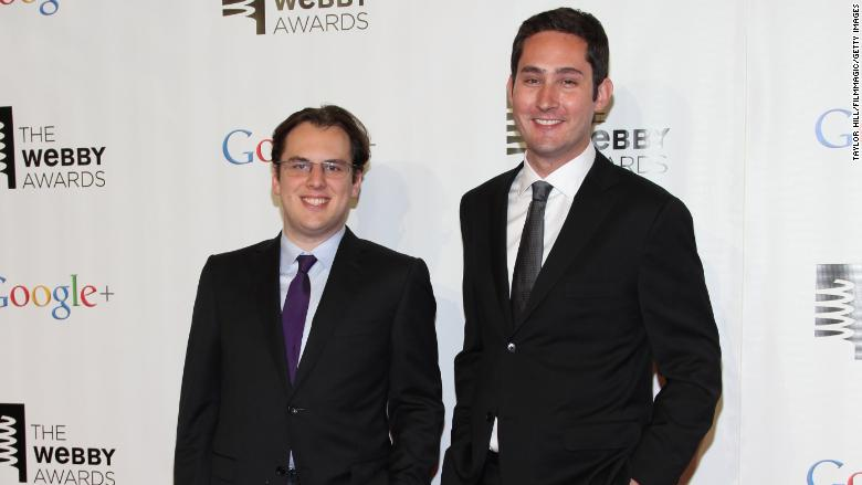 Instagram co-founders Mike Krieger left and Kevin Systrom right