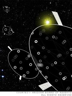 Space-based Frisbee deflectors