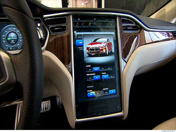 inside the tesla model s rich interior 4 cnnmoney. Black Bedroom Furniture Sets. Home Design Ideas