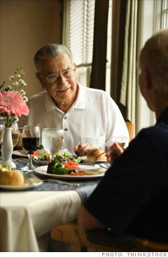 We follow senior citizens at dinnertime